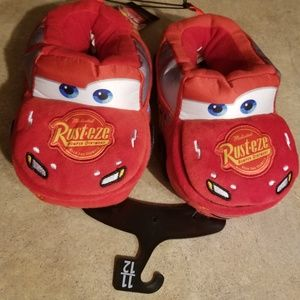 Disney Toddler Boys Cars Slippers Plush Red